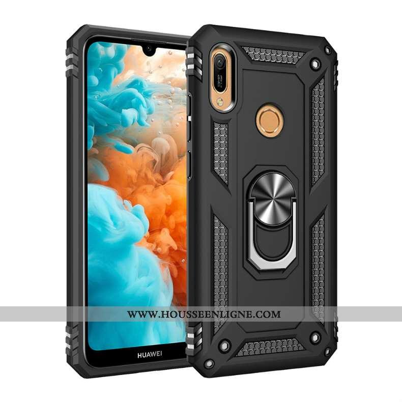 Coque Huawei Y7 2020 Silicone Protection Noir Difficile Anneau Magnétisme
