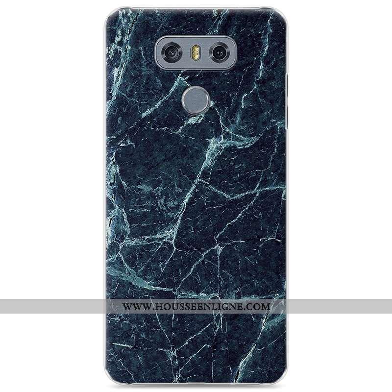 Coque Lg G6 En Bois Modèle Fleurie Étui Difficile Téléphone Portable Simple Bleu Foncé