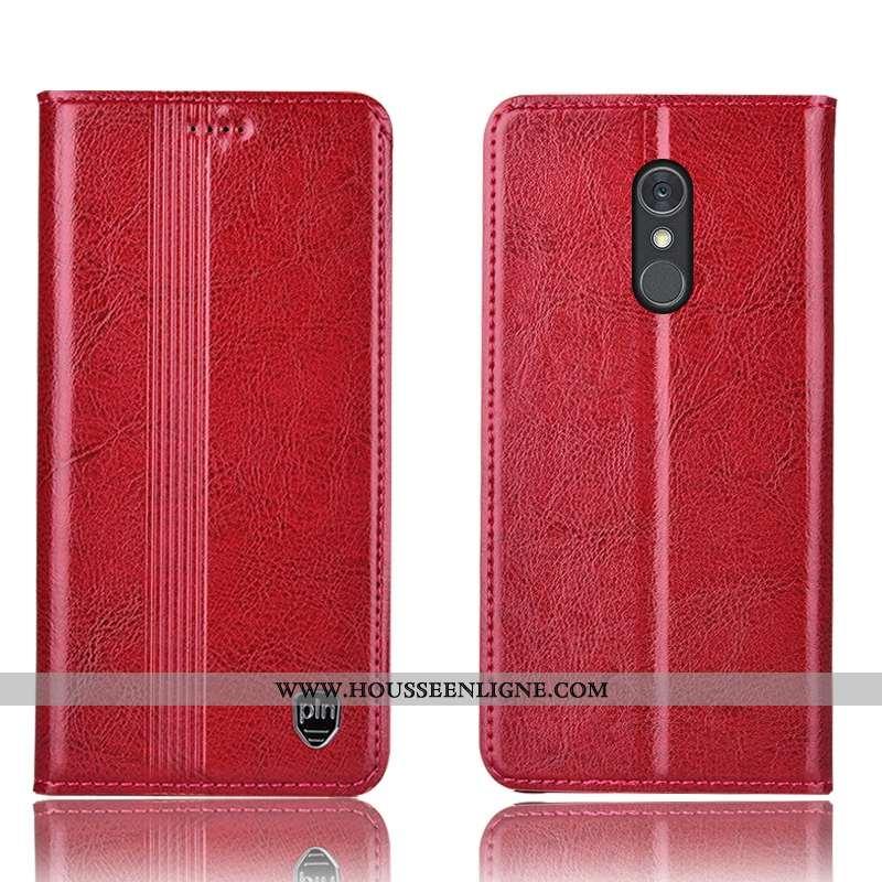 Coque Lg Q Stylus Cuir Véritable Protection Rouge Téléphone Portable Étui Housse