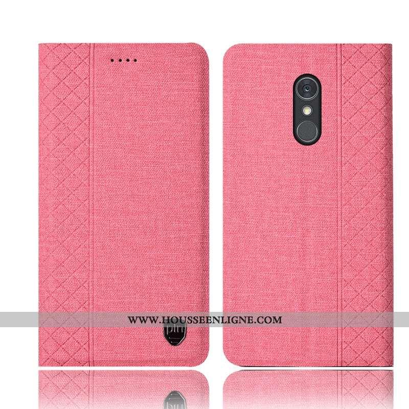 Coque Lg Q Stylus Protection Cuir Étui Incassable Téléphone Portable Lin Rose