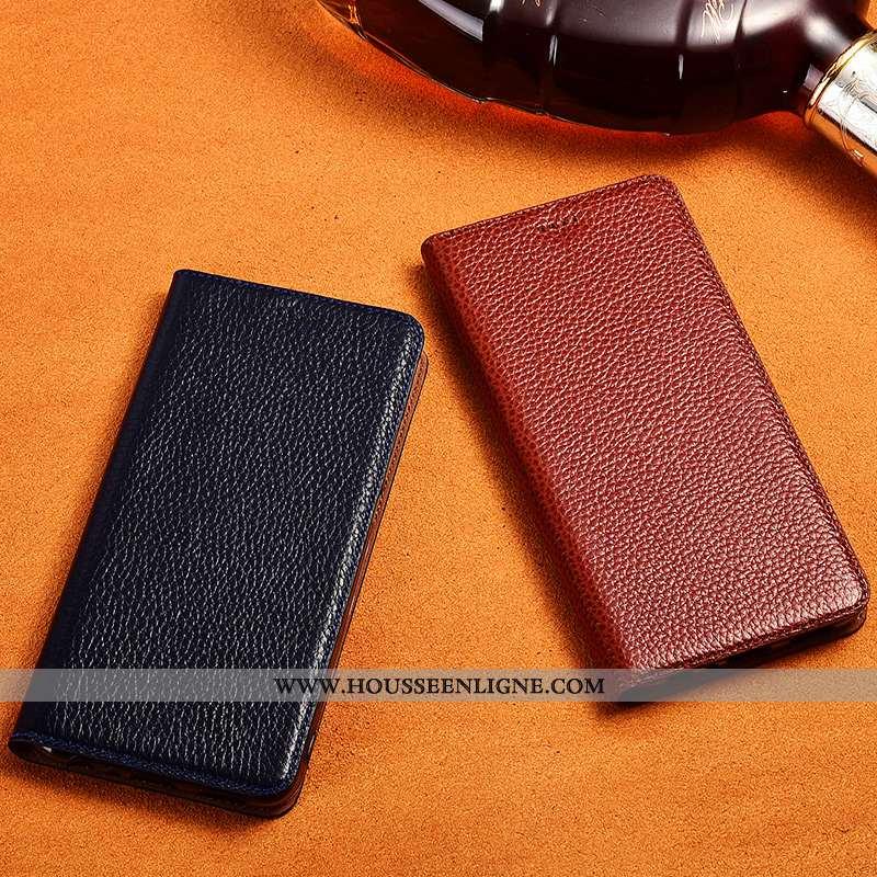 Coque Lg Q6 Fluide Doux Silicone Téléphone Portable Tout Compris Cuir Véritable Litchi Noir