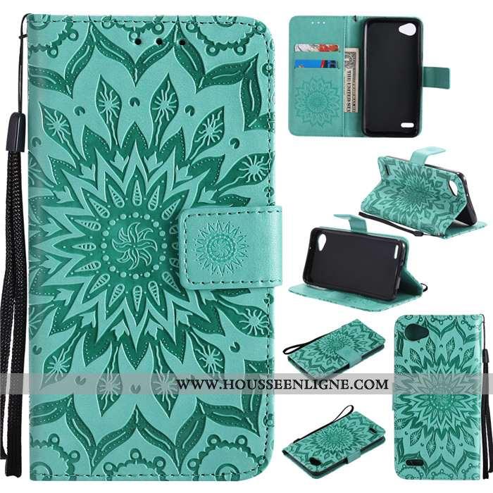 Coque Lg Q6 Protection Cuir Téléphone Portable Étui Incassable Tout Compris Verte