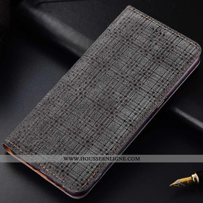 Coque Lg Q7 Cuir Véritable Protection Étui Téléphone Portable Incassable Housse Gris
