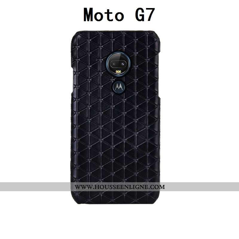 Coque Moto G7 Créatif Cuir Véritable Cuir Bovins Personnalisé Plaid Incassable Noir