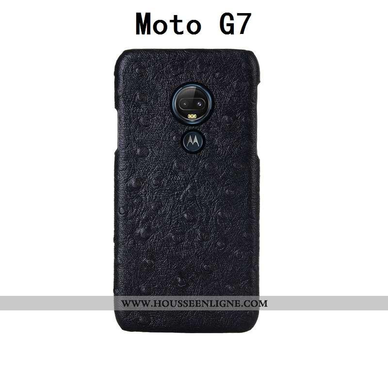 Coque Moto G7 Cuir Véritable Cuir Étui Téléphone Portable Oiseau Protection Noir