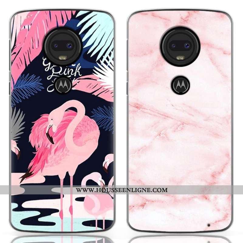 Coque Moto G7 Fluide Doux En Silicone Nouveau Dessin Animé Personnalité Téléphone Portable Rose