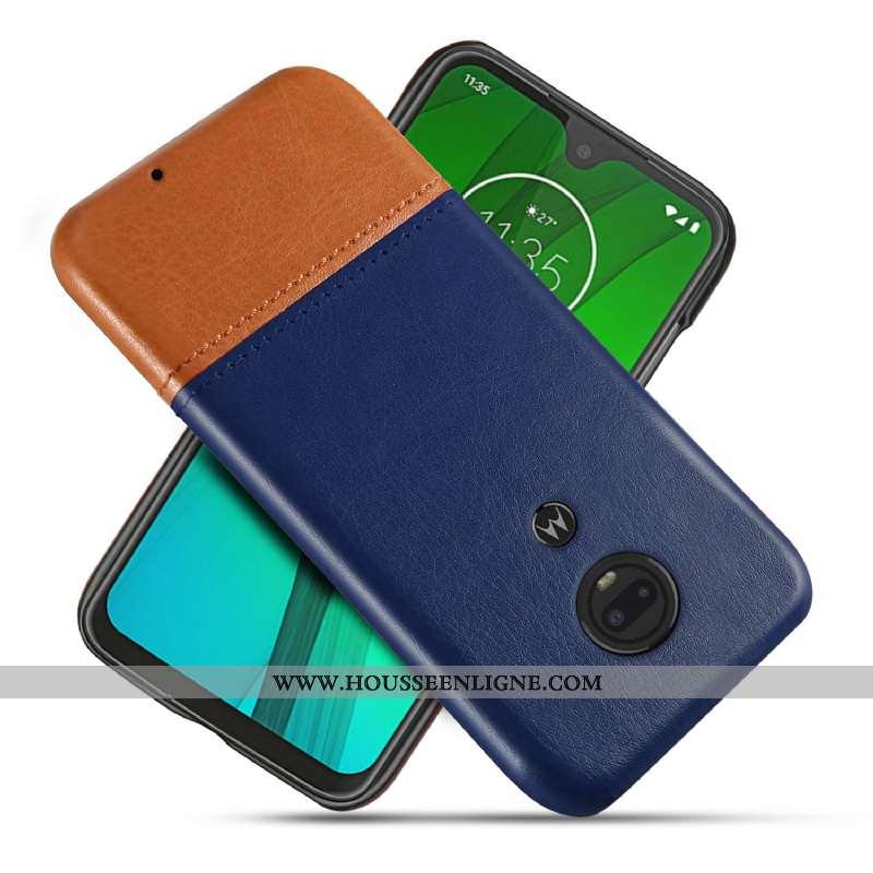 Coque Moto G7 Personnalité Cuir Bleu Protection Étui Téléphone Portable Qualité