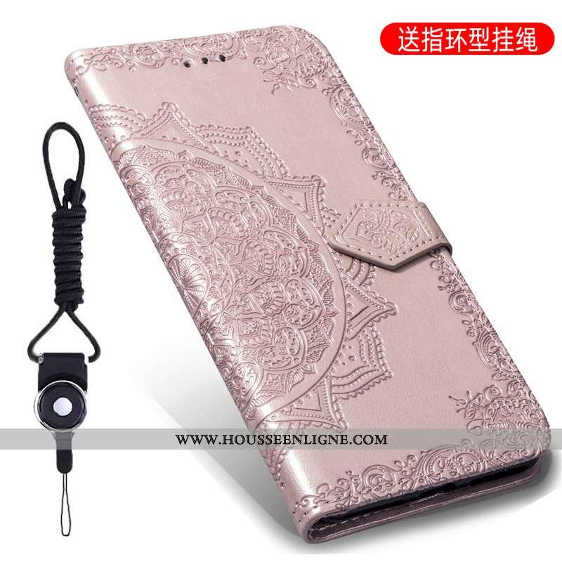 Coque Moto G7 Play Gaufrage Cuir Housse Protection Couleur Unie Téléphone Portable Rose