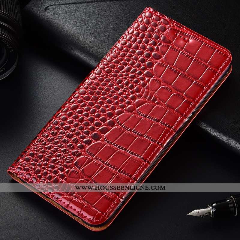 Coque Moto G7 Play Modèle Fleurie Cuir Véritable Cuir Crocodile Étui Téléphone Portable Rouge