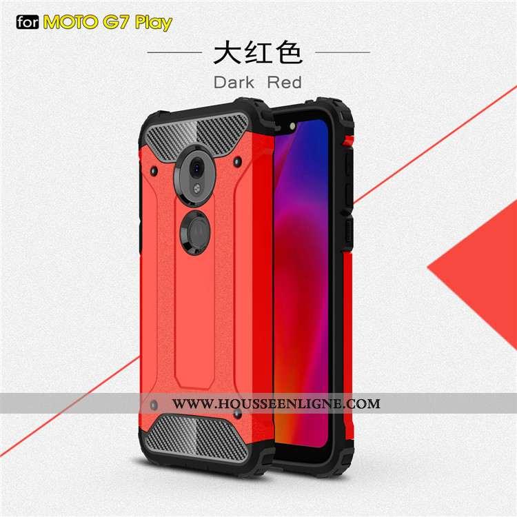 Coque Moto G7 Play Protection Incassable Rouge Étui Tout Compris Téléphone Portable