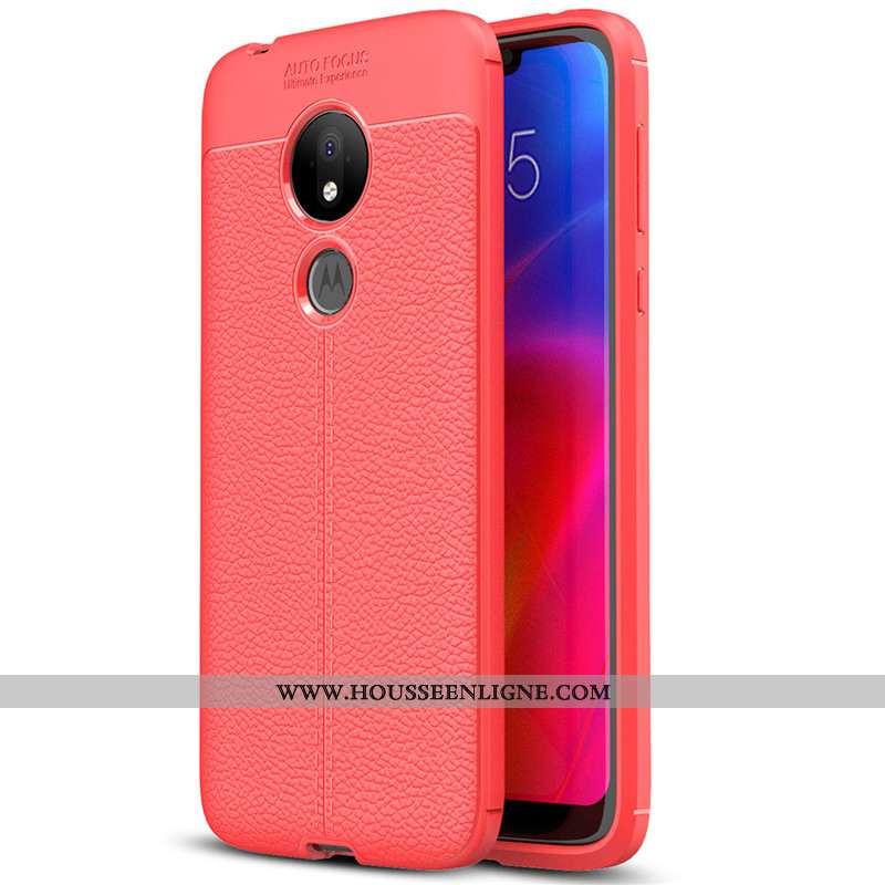 Coque Moto G7 Play Silicone Protection Tout Compris Fluide Doux Cuir Modèle Fleurie Simple Rouge