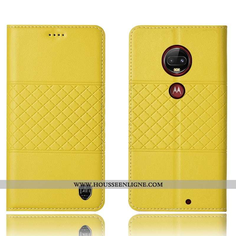 Coque Moto G7 Plus Cuir Véritable Protection Étui Jaune Téléphone Portable Housse