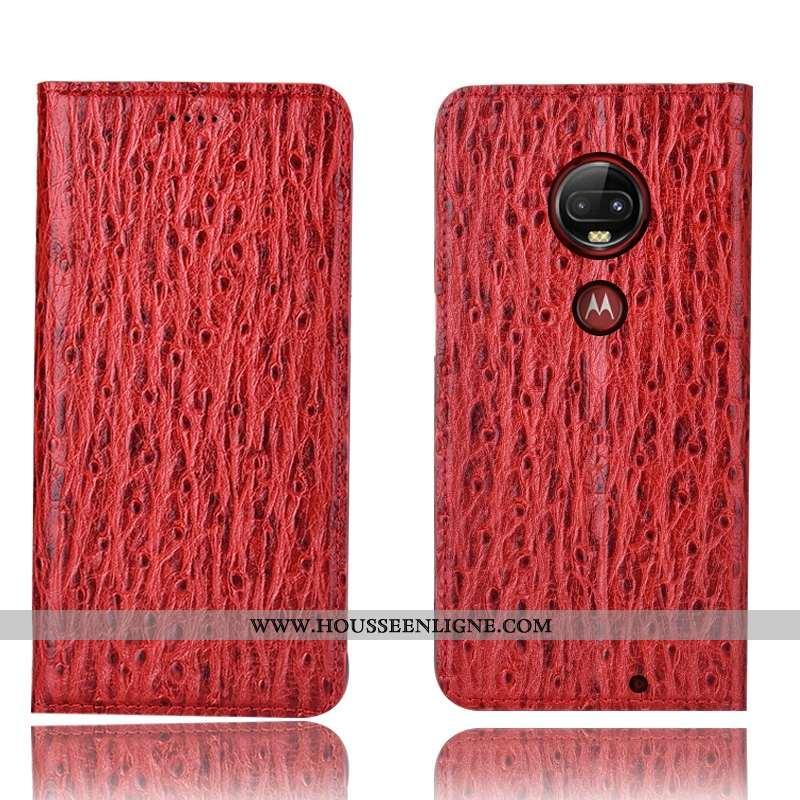 Coque Moto G7 Plus Cuir Véritable Protection Téléphone Portable Tout Compris Incassable Rouge