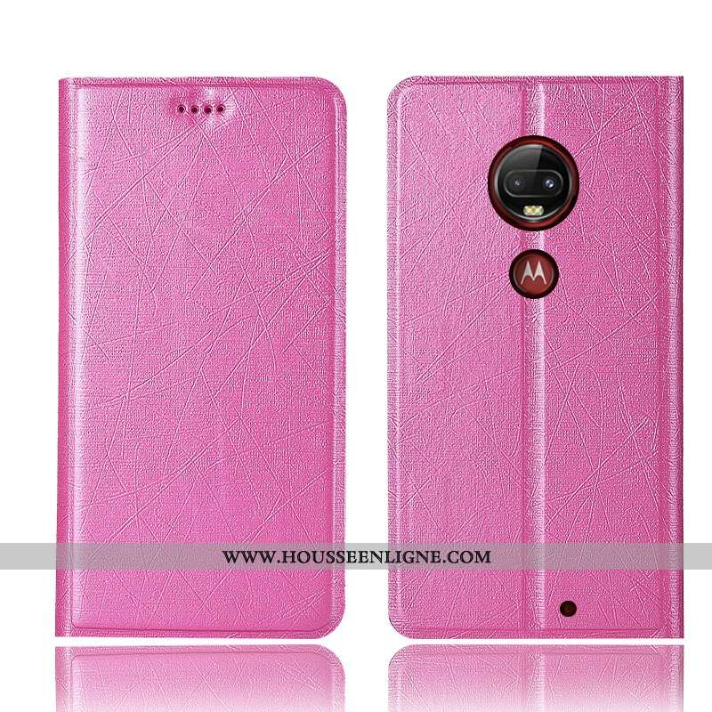 Coque Moto G7 Plus Protection Cuir Soie Rouge Étui Tout Compris Téléphone Portable Rose