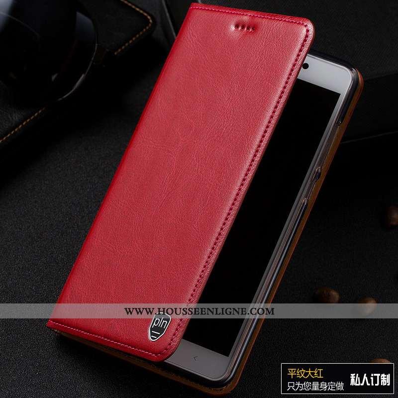 Coque Moto G7 Power Cuir Véritable Modèle Fleurie Téléphone Portable Europe Incassable Rouge