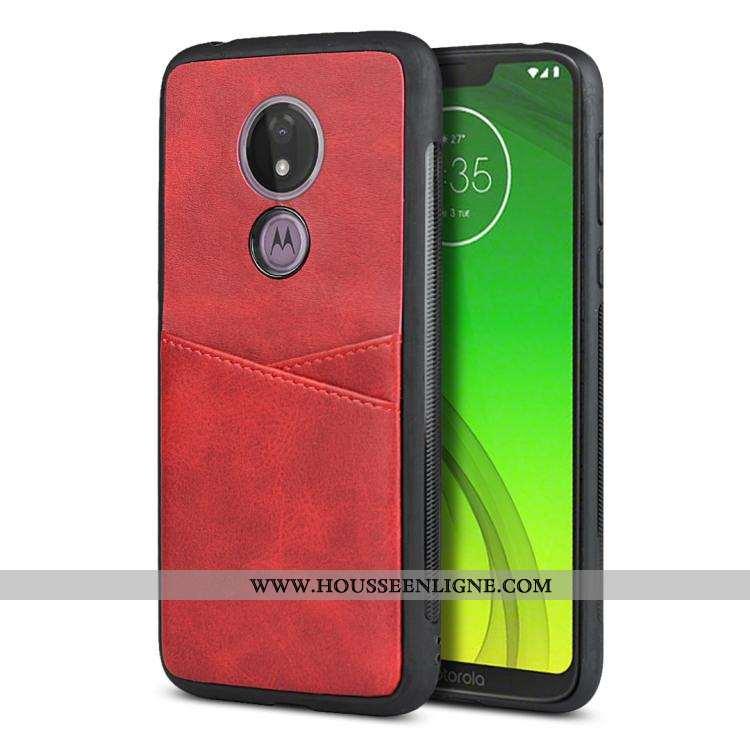 Coque Moto G7 Power Fluide Doux Silicone Carte Téléphone Portable Rouge Protection