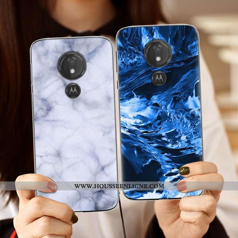 Coque Moto G7 Power Personnalité Créatif Silicone Bleu Téléphone Portable Tendance