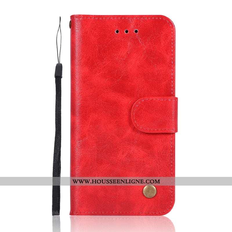 Coque Moto G7 Power Portefeuille Cuir Téléphone Portable Modèle Fleurie Vintage Carte Étui Rouge