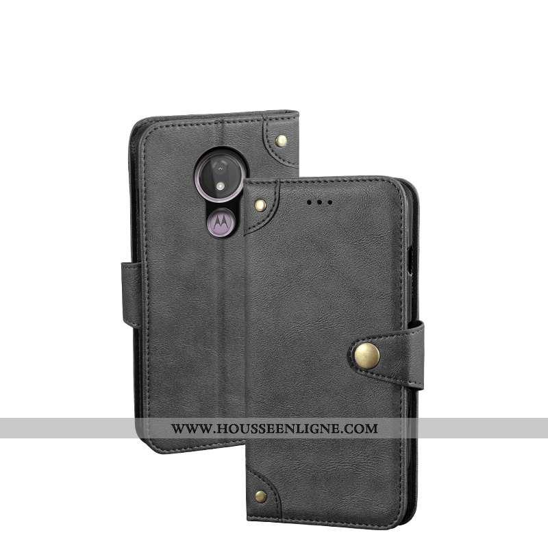 Coque Moto G7 Protection Vintage Étui Téléphone Portable Clamshell Cuir Noir