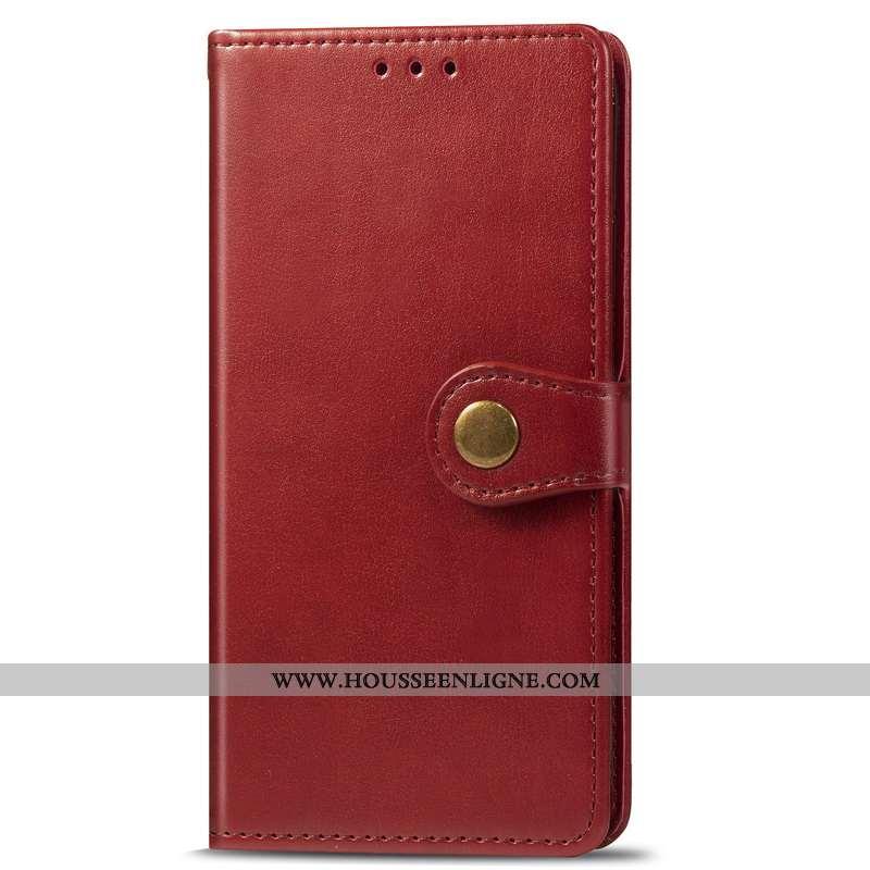 Coque Moto G8 Plus Cuir Protection Ornements Suspendus Couleur Unie Téléphone Portable Étui Rouge