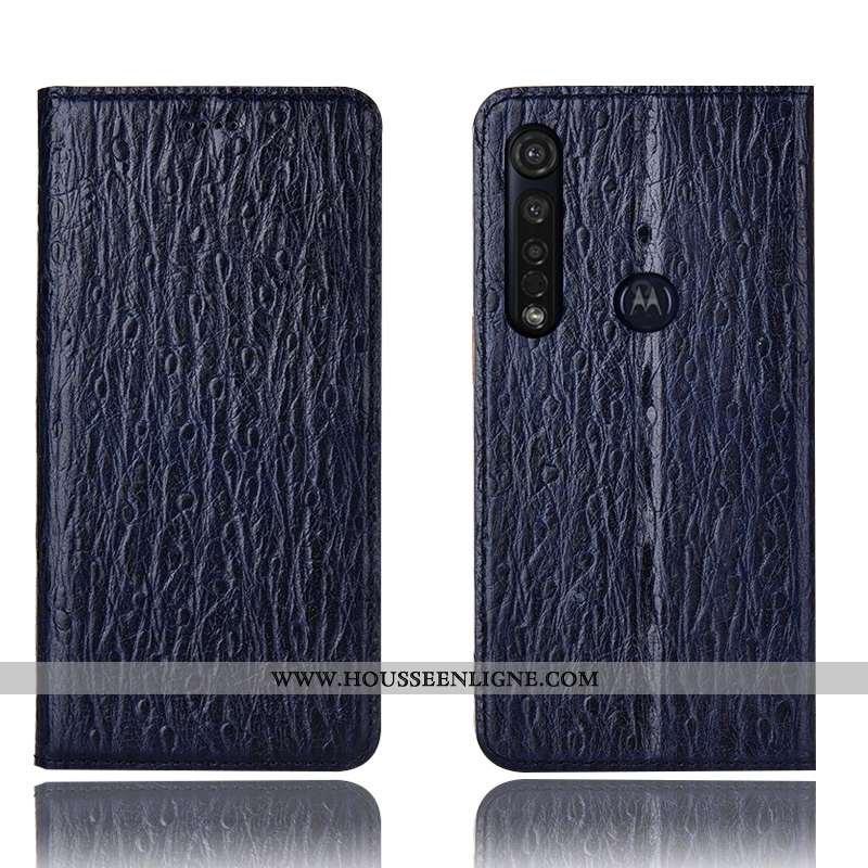 Coque Moto G8 Plus Cuir Véritable Protection Bleu Marin Téléphone Portable Incassable Housse Tout Co