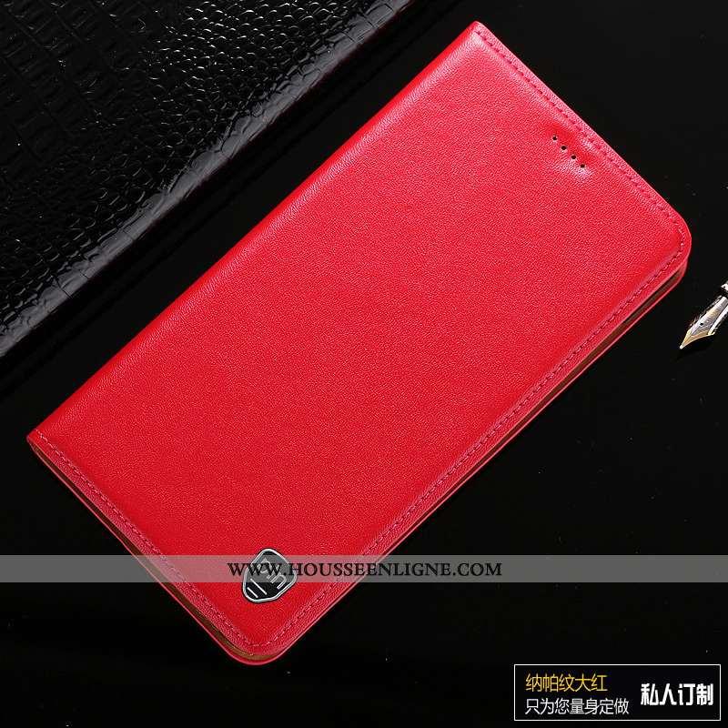 Coque Moto G8 Plus Cuir Véritable Protection Téléphone Portable Étui Rouge Tout Compris