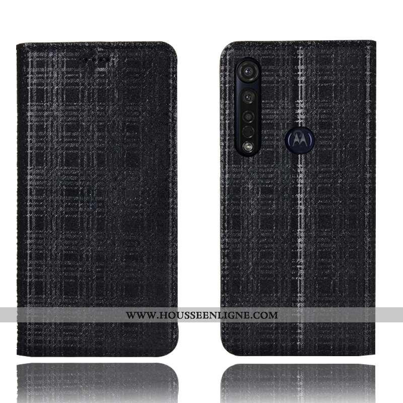 Coque Moto G8 Plus Protection Cuir Véritable Housse Noir Téléphone Portable Velours
