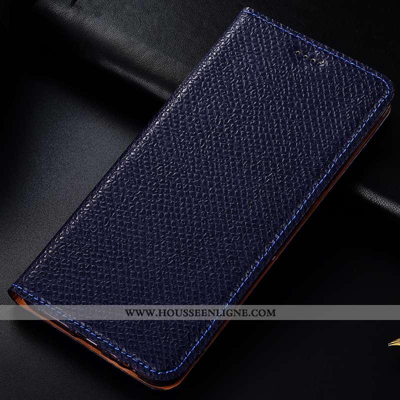 Coque Moto G8 Plus Protection Cuir Véritable Mesh Tout Compris Téléphone Portable Housse Bleu Marin