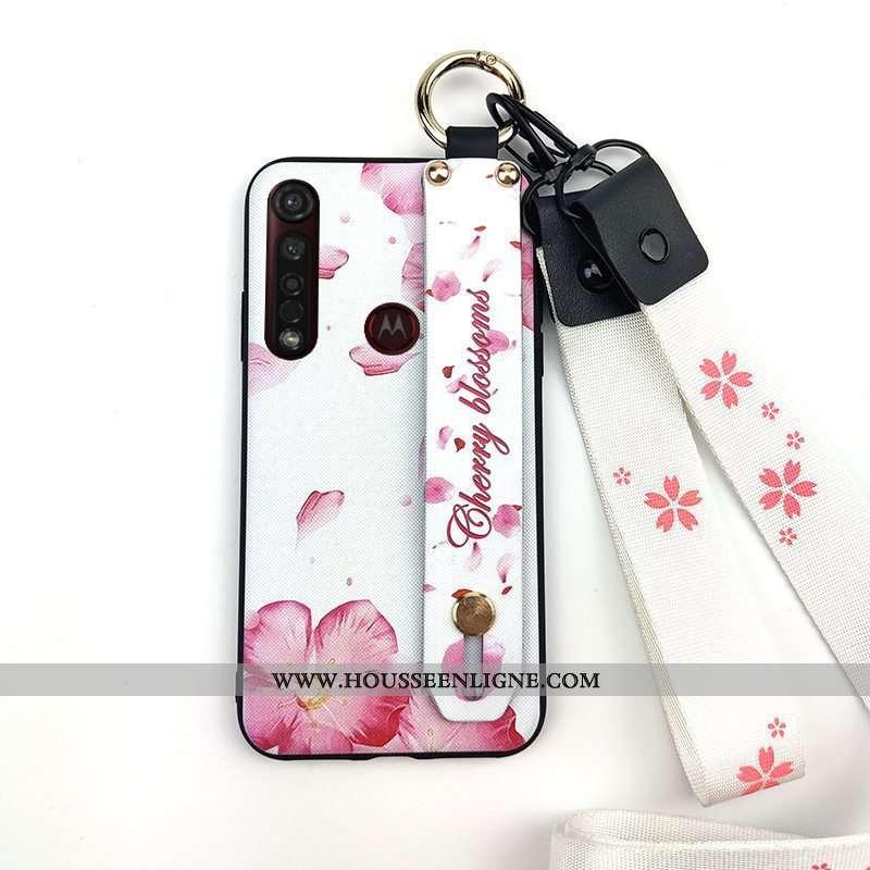 Coque Moto G8 Plus Protection Ornements Suspendus Frais Support Téléphone Portable Étui Rose