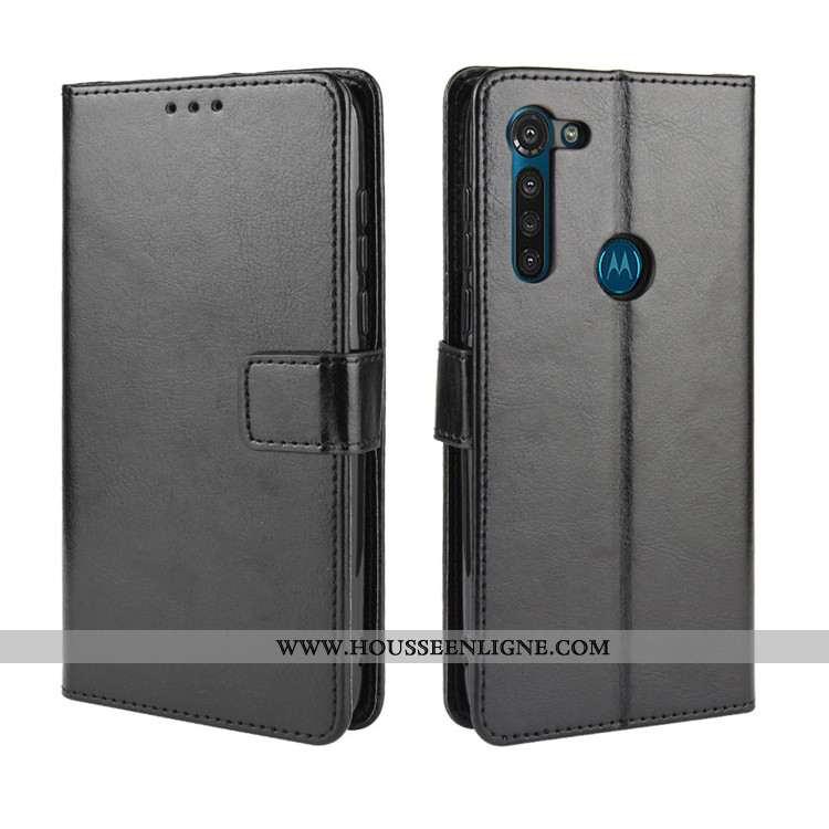 Coque Moto G8 Power Cuir Protection Étui Noir Ornements Suspendus Téléphone Portable