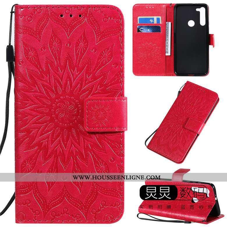 Coque Moto G8 Power Cuir Protection Housse Téléphone Portable Rouge Gaufrage