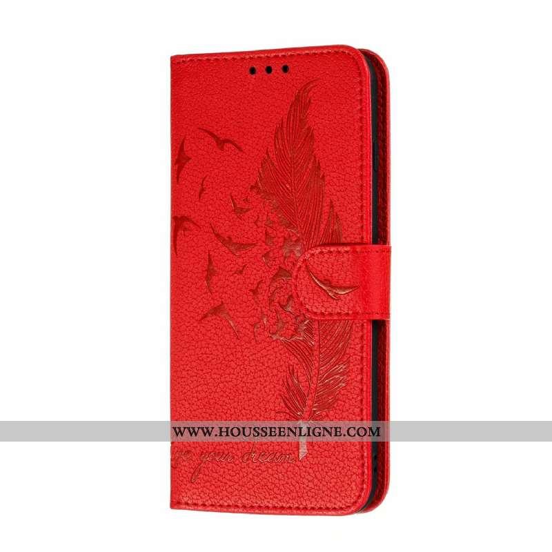 Coque Moto G8 Power Lite Cuir Rouge Téléphone Portable Clamshell Étui Tout Compris