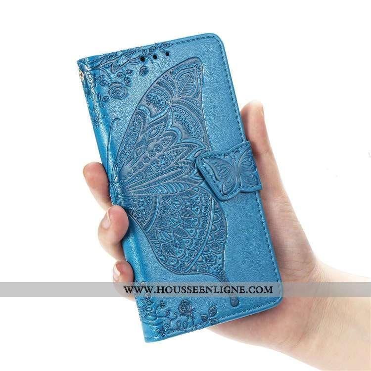 Coque Moto G8 Power Lite Portefeuille Cuir Bleu Téléphone Portable Clamshell Support