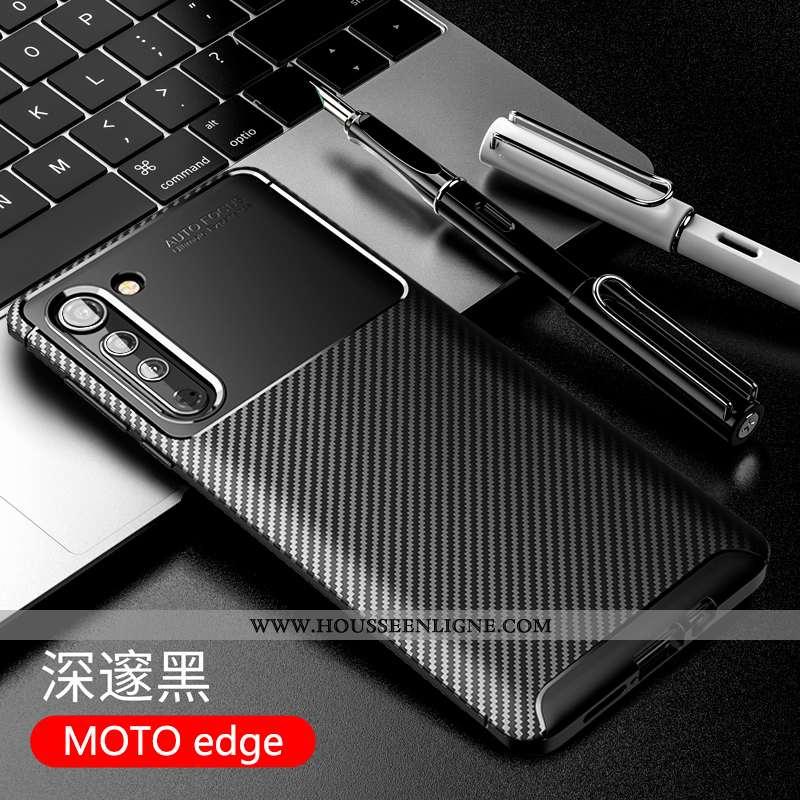 Coque Motorola Edge Fluide Doux Silicone Étui Téléphone Portable Incassable Business Noir