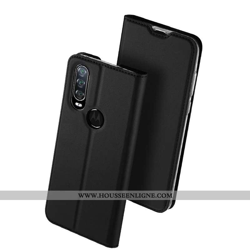 Coque Motorola One Action Cuir Protection Clamshell Étui Noir Téléphone Portable Tout Compris