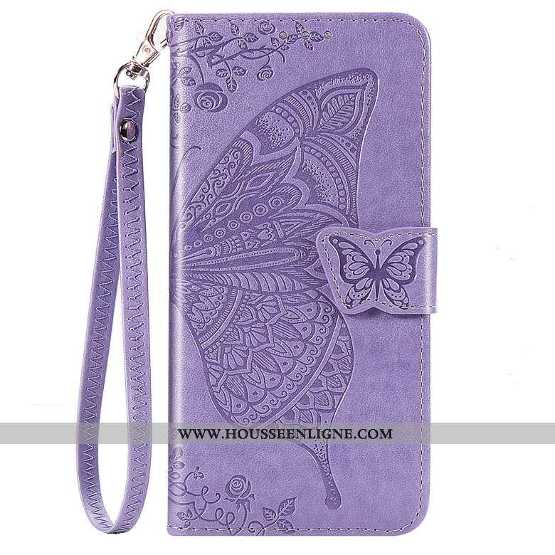 Coque Motorola One Action Cuir Protection Téléphone Portable Incassable Papillon Étui Violet