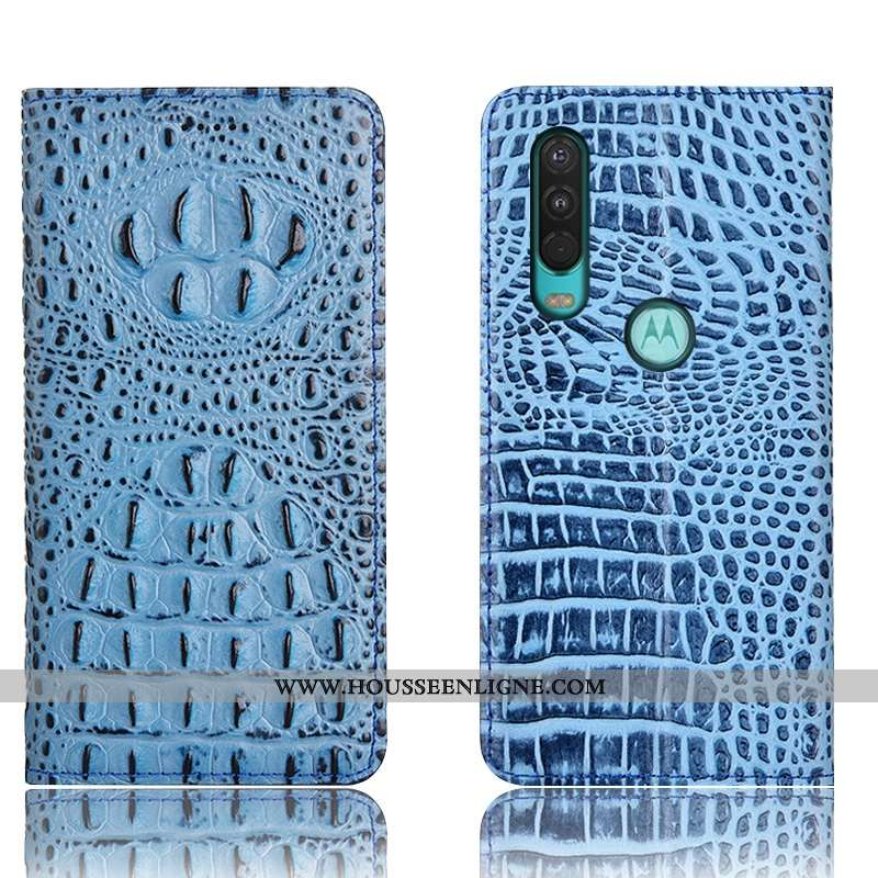 Coque Motorola One Action Cuir Véritable Protection Étui Téléphone Portable Bleu Crocodile