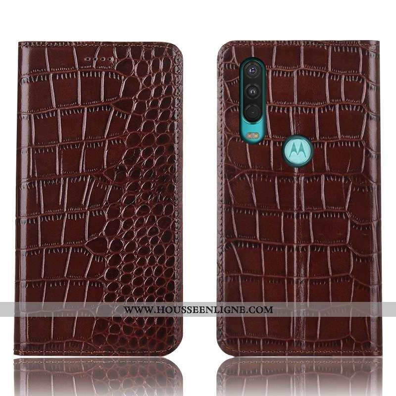 Coque Motorola One Action Cuir Véritable Protection Crocodile Téléphone Portable Étui Incassable Mar