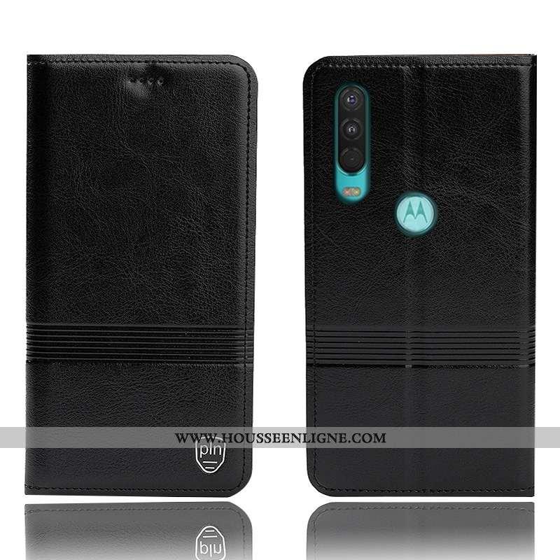 Coque Motorola One Action Cuir Véritable Protection Housse Incassable Noir Étui Tout Compris