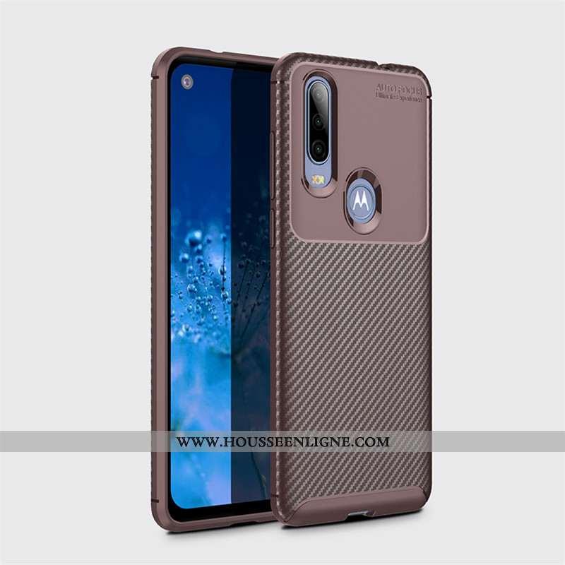 Coque Motorola One Action Délavé En Daim Modèle Fleurie Fluide Doux Étui Business Protection Marron