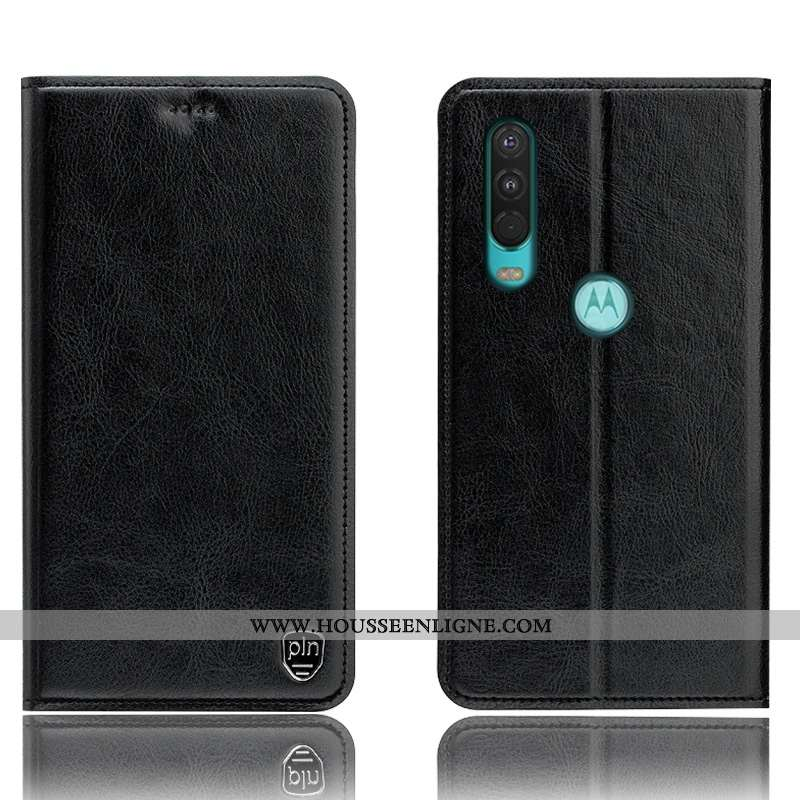 Coque Motorola One Action Modèle Fleurie Protection Cuir Véritable Noir Étui Incassable