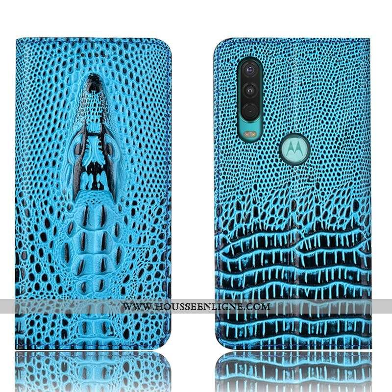 Coque Motorola One Action Protection Cuir Étui 2020 Housse Incassable Bleu