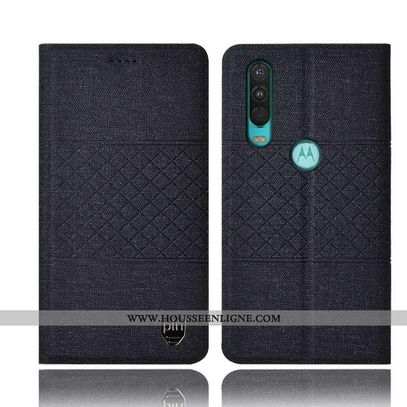 Coque Motorola One Action Protection Cuir Housse Tout Compris Téléphone Portable Noir