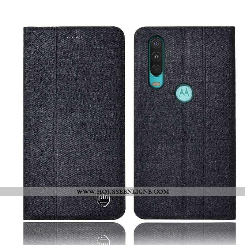 Coque Motorola One Action Protection Cuir Noir Incassable Téléphone Portable Tout Compris