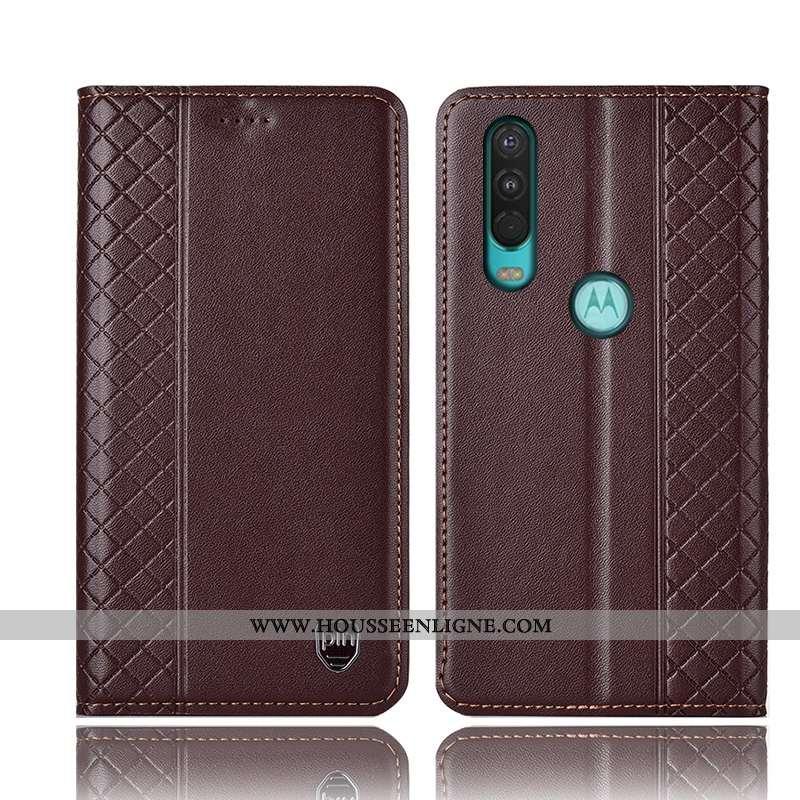 Coque Motorola One Action Protection Cuir Véritable Housse Téléphone Portable Étui Incassable Marron