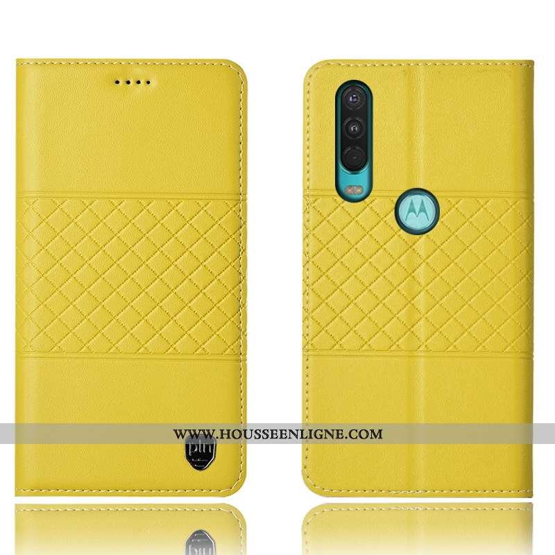 Coque Motorola One Action Protection Cuir Véritable Incassable Jaune Tout Compris Housse Étui