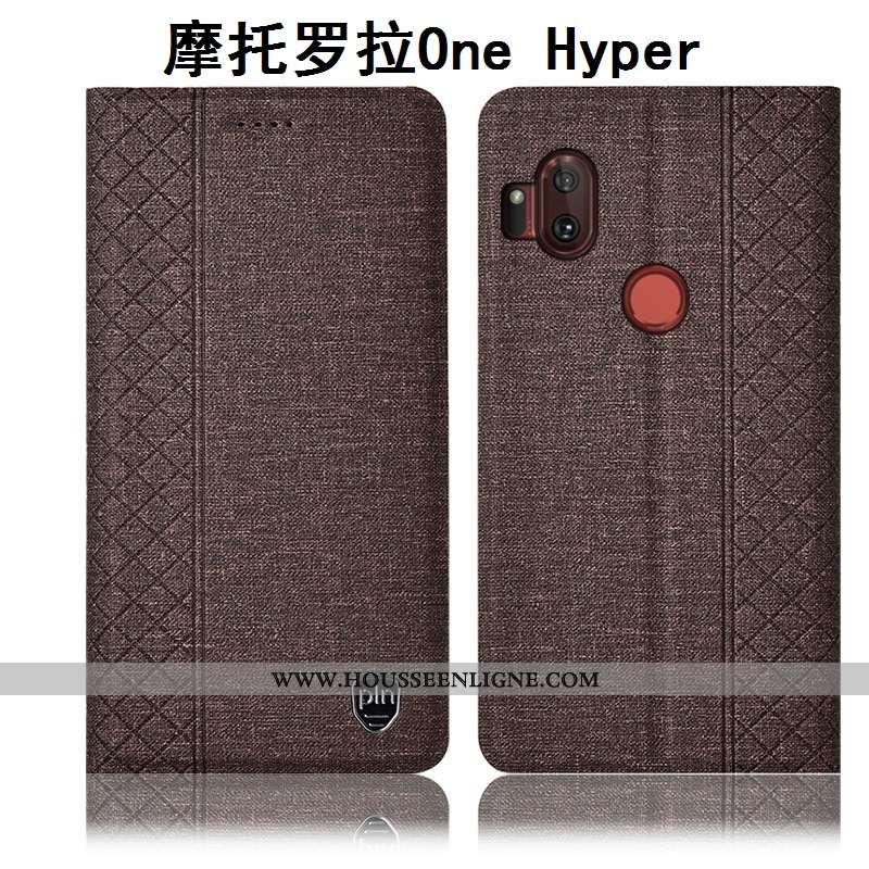 Coque Motorola One Hyper Cuir Protection Housse Téléphone Portable Incassable Lin Marron