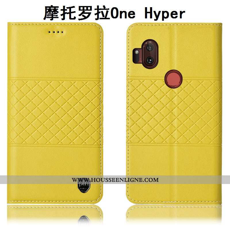 Coque Motorola One Hyper Cuir Véritable Protection Étui Téléphone Portable Housse Incassable Jaune