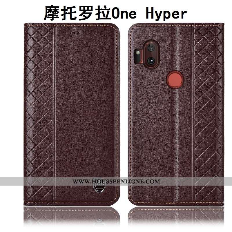 Coque Motorola One Hyper Cuir Véritable Protection Incassable Téléphone Portable Housse Étui Marron