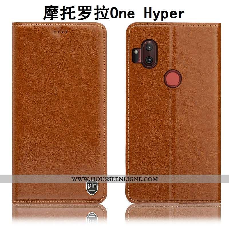 Coque Motorola One Hyper Protection Cuir Véritable Étui Incassable Housse Téléphone Portable Marron